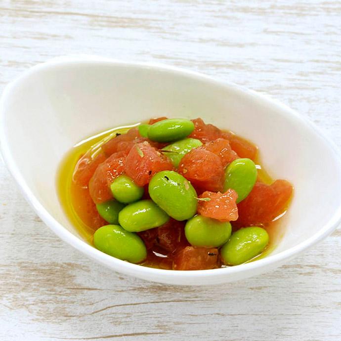 クレイジーソルトで枝豆トマト